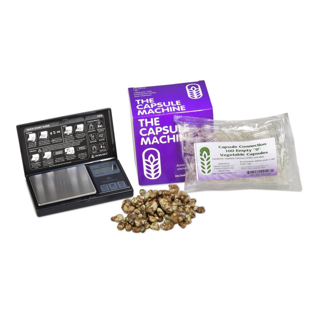 Microdosing package deal, magic truffles, digital scale, capsule machine and empty capsules