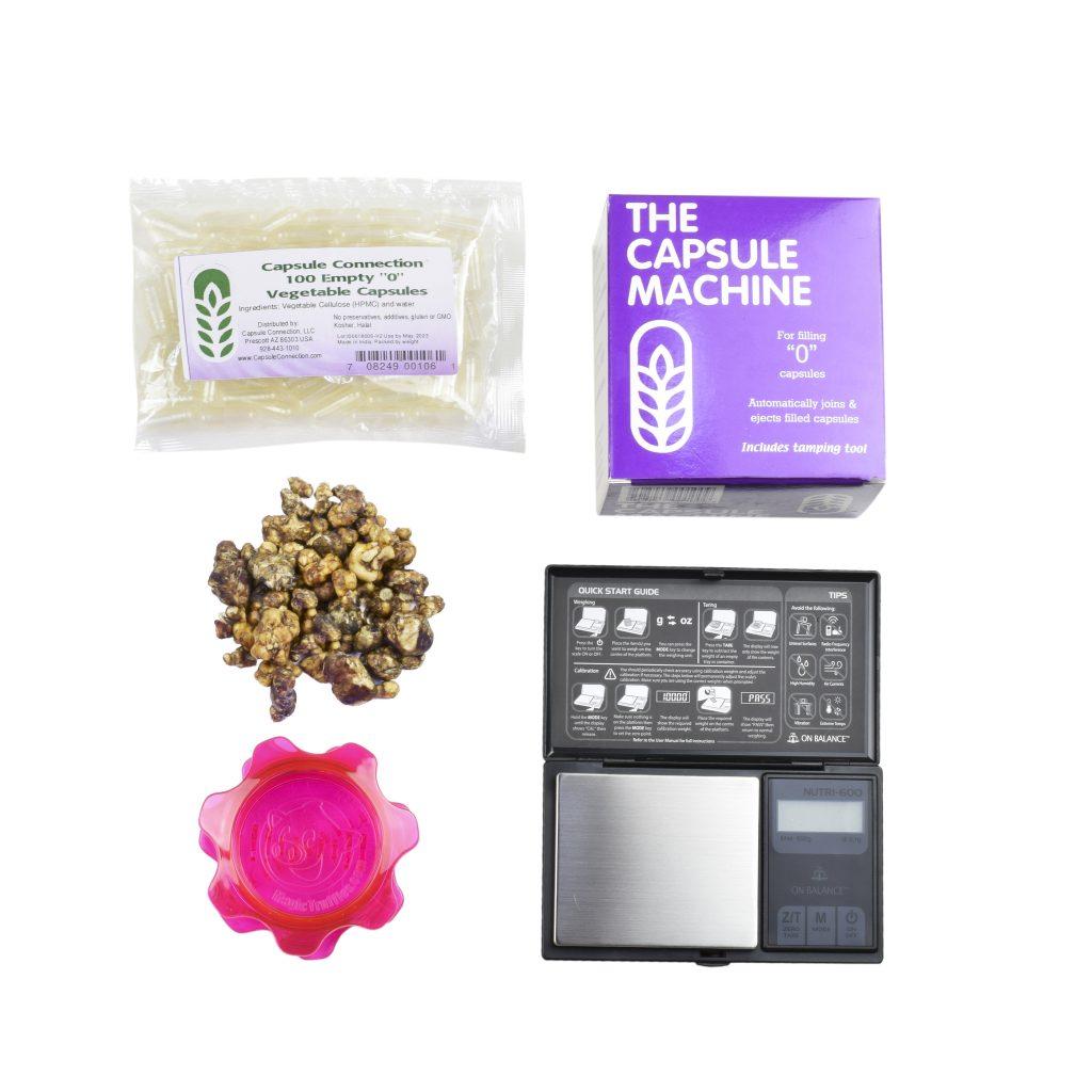 Microdosing package deal, magic truffles, digital scale, truffle grinder, empty capsules and capsule machine